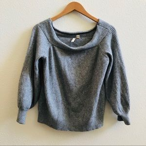 MOTH BY ANTHRO GRAY RIBBED WIDE neck sweater M